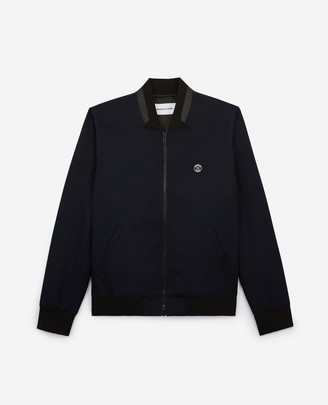 The Kooples Blended blue wool jacket with rubber detail