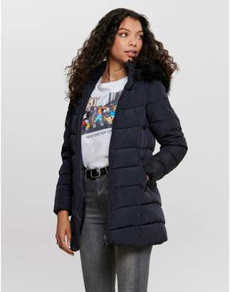 Only Long Padded Zipped Jacket with Faux Fur Hood