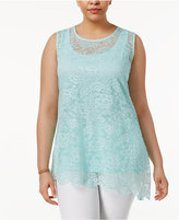 Alfani Plus Size Layered-Look Lace Tank, Created for Macy's