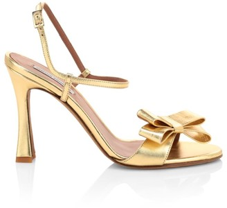 Tabitha Simmons Annie Bow Metallic Leather Sandals