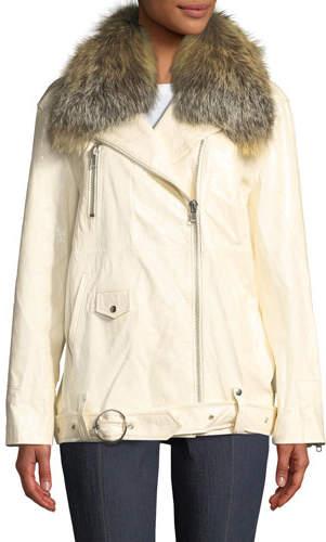 Cinq à Sept Emilia Patent Leather Jacket w/ Fox Fur Collar