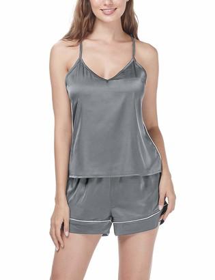 Menore Women Satin Lingerie Pyjamas Set V- Neck Sexy Cami and Short Nightwear S - XL Grey