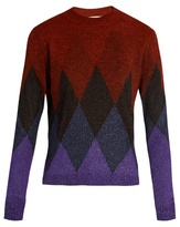 Marco De Vincenzo Diamond-intarsia crew-neck sweater