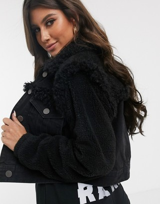 ASOS DESIGN denim jacket with borg detail in black
