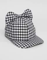Helene Berman Gingham Cap with Bow