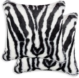 Luxe Faux Fur Belton 2-Pack Square Zebra-Print Faux Fur Pillow Set
