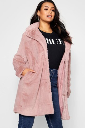 boohoo Plus Collared Faux Fur Coat