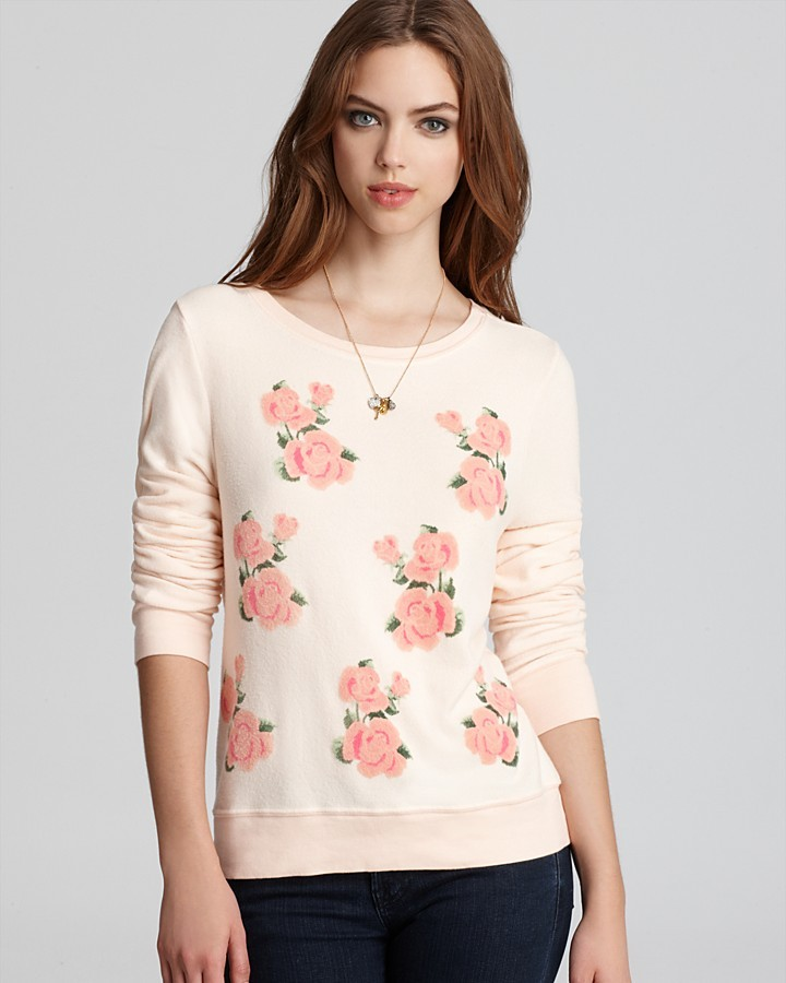 Wildfox Couture Sweatshirt - Light Pink with Roses