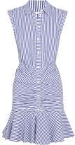 Veronica Beard Ruched Striped Cotton-poplin Mini Dress - Blue
