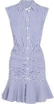 Veronica Beard Ruched Striped Cotton-poplin Mini Dress