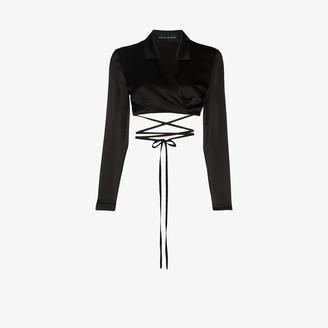 Michael Lo Sordo Tie Detail Cropped Silk Blouse
