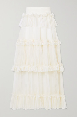 Alexander McQueen Ruffled Silk-trimmed Ribbed-knit Midi Skirt - Ivory