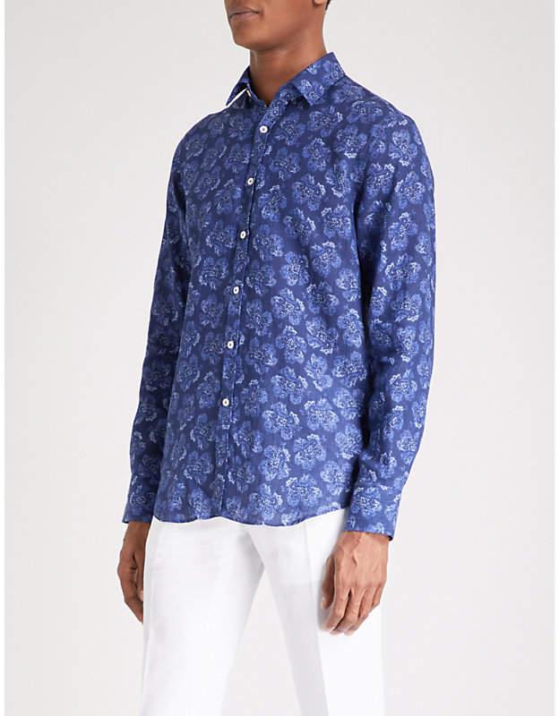 Canali Floral-print slim-fit linen shirt
