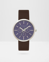 Multi dial leather strap watch