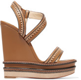 Christian Louboutin Trepi 140 scalloped leather wedge sandals