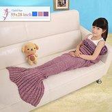 Senmar Mermaid Blanket Kids, Knitted Sleeping Bag Sofa Falbala Mermaid Tail Bed Throw Blanket, Crochet Blanket Birthday Christmas Gift for Kids(56'' 28'' ) (Dark Pink)