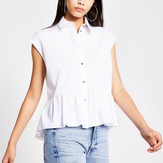 River Island White short sleeve high low shirt