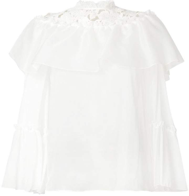 Giambattista Valli lace panel blouse