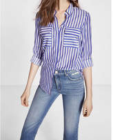 Express Striped Convertible Sleeve Easy Drape Shirt