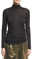 Brunello Cucinelli Wool Jersey Turtleneck Sweater with Monili & Mohair Trim, Onyx