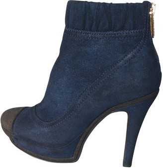 Chanel Blue Suede Ankle boots