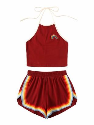 SweatyRocks Women's 2 Piece Set Halter Crop Top and Shorts Set - red - Large