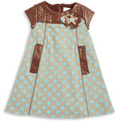 Us Angels Girls 2-6x Faux Leather Dotted Dress