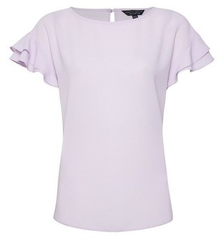 Dorothy Perkins Womens Lilac Ruffle Top With Recycled Polyester