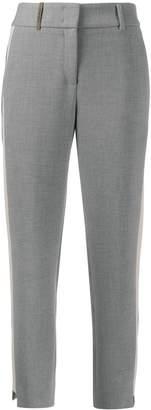 Peserico slim fit side stripe trousers