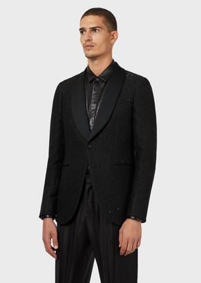 Emporio Armani Sequin-Covered Slim-Fit Smoking Jacket