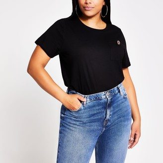 River Island Womens Plus Black diamante button t-shirt