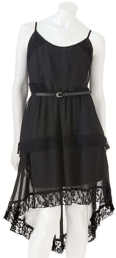 Lily rose lace tiered hi-low dress - juniors