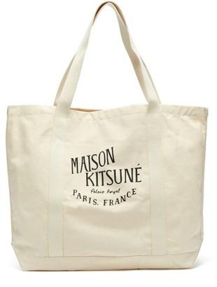 MAISON KITSUNÉ Palais Royal-print Cotton-canvas Tote Bag - Mens - Beige