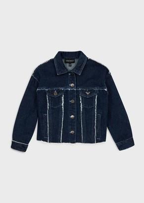 Emporio Armani Denim Jacket With Logo Patch