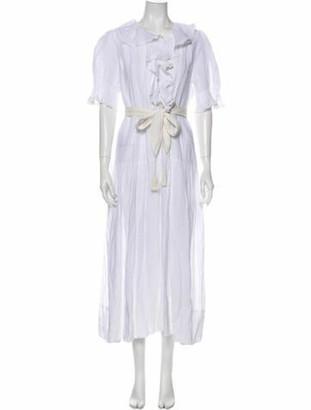DÔEN Crew Neck Midi Length Dress White Crew Neck Midi Length Dress