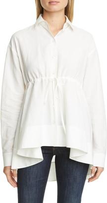 Brock Collection Tie Waist Cotton & Linen Shirt