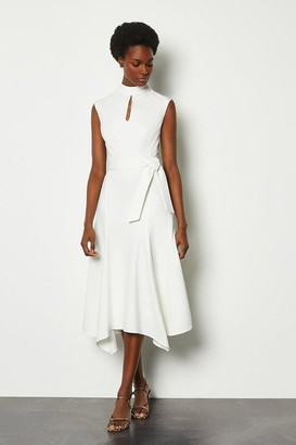 Karen Millen Cap Sleeve Tie Waist Midi Dress