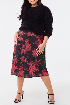 Forever 21 Plus Size Floral Satin Skirt