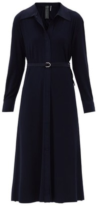 Norma Kamali Tie Waist Jersey Dress - Womens - Navy