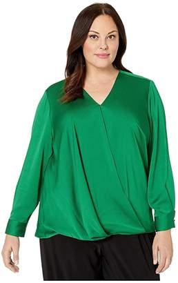 Vince Camuto Specialty Size Plus Size Long Sleeve Wrap Front Hammer Satin Blouse (Everglade) Women's Clothing