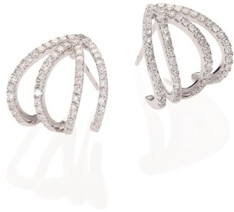 Meira T Pave Diamond & 14K White Gold Cage Earrings