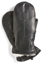 Fownes Women's Brothers Genuine Rabbit Fur Lined Leather Mittens