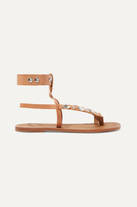 Isabel Marant Enga Studded Leather Sandals - Tan