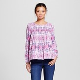 U-knit Women's Longsleeve Printed Peasant Blouse with Keyhole Back