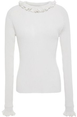 See by Chloe Ruffle-trimmed Ribbed Cotton-blend Sweater