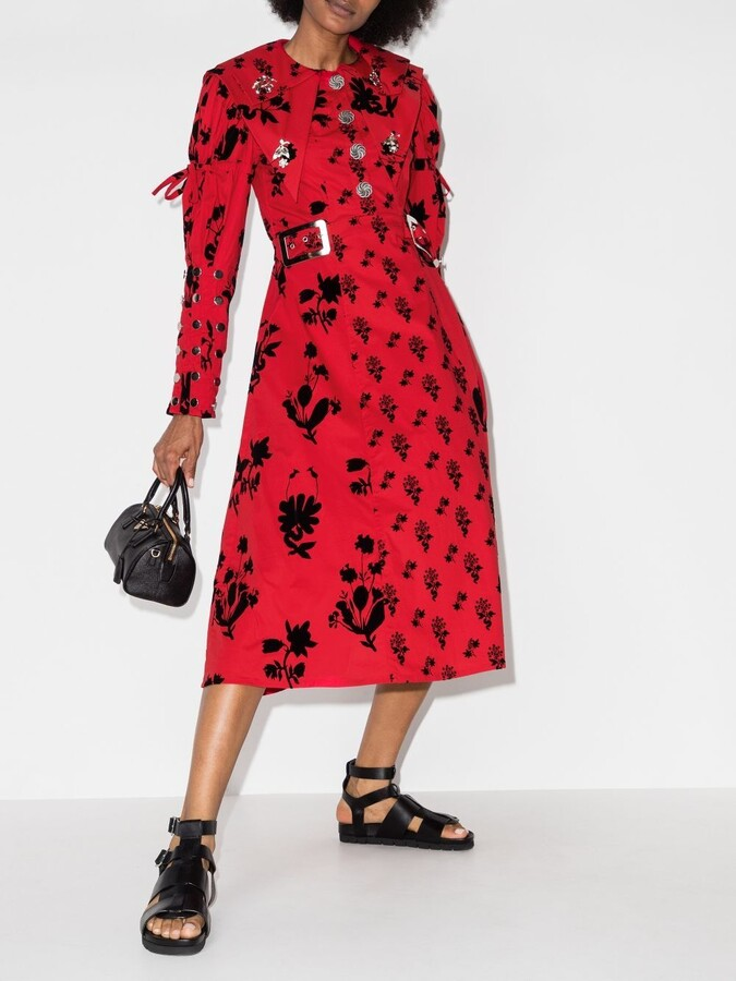 Thumbnail for your product : Chopova Lowena Red Buckled-Waist Dress