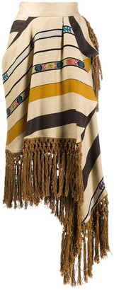 Etro Striped Fringe Midi Skirt