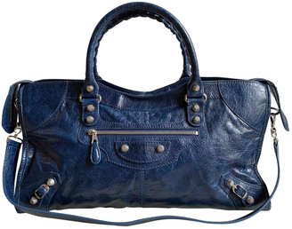 Balenciaga Part Time Navy Leather Handbags