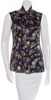 Chanel Tie-Accented Printed Top