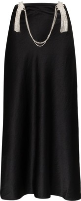 Collina Strada Tasseled Diamante Chain Midi Skirt
